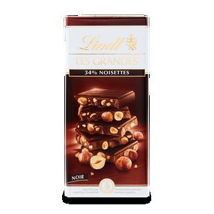 Lindt Les Grand Тъмен шоколад с цели лешници 150 г